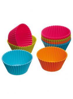 12 Silikon Muffinsförmchen,   7 cm, verschiedene Farben